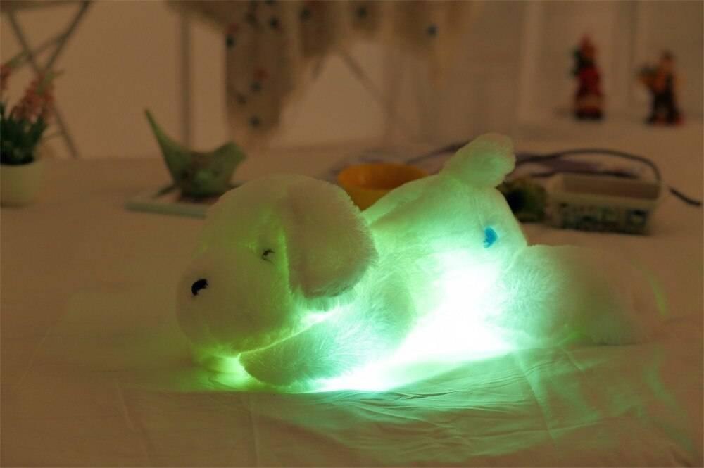 Colorful Luminous Teddy Dog LED Light Plush Pillow Cushion Kids Toys Stuffed Animal Doll Birthday Gift for Child