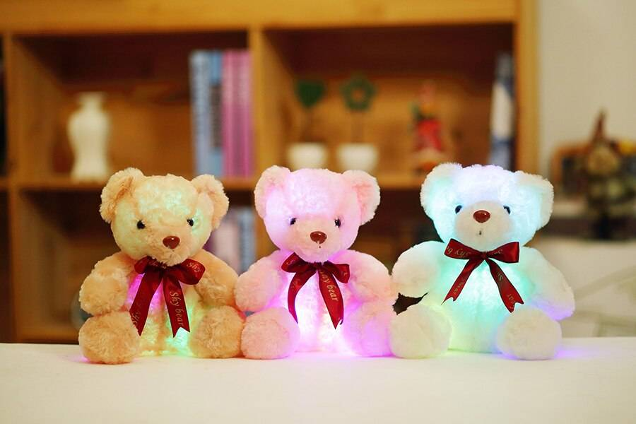 Creative Light Up LED Teddy Bear Stuffed Animals Plush Toy Colorful Glowing Christmas Gift for Kids