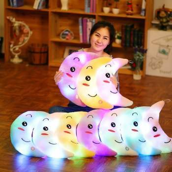Creative Toy Luminous Pillow Soft Stuffed Plush Glowing Colorful Stars Cushion Led Light Toys Gift For Kids Children Girls Just6F