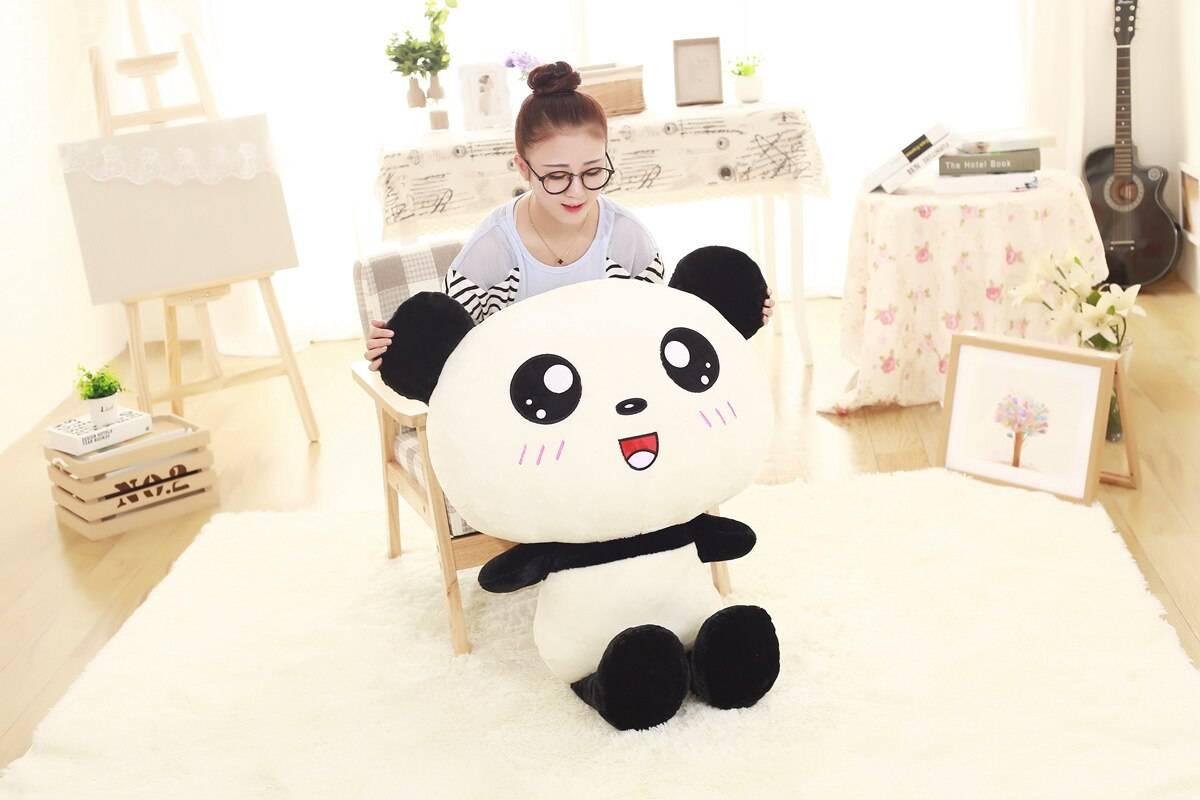 Cute Cartoon Panda Plush Toys Smile Panda Pillow Kawaii Stuffed Doll Bed Sleeping Cushion For Kids Girls Birthday Gift