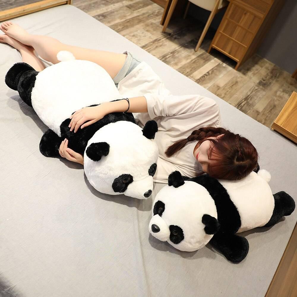 Cute Giant Panda Bear Plush Lie Prone Posture Stuffed Animal Doll Toy Pillow Cartoon Kawaii Dolls Girls Lover Gifts