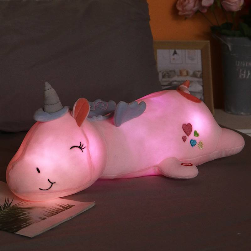 Cute LED Unicorn Doll Super Soft Plush Toy Bed Long Pillow Baby Sleeping Doll Large Girl Doll High Quality Gift For Kids