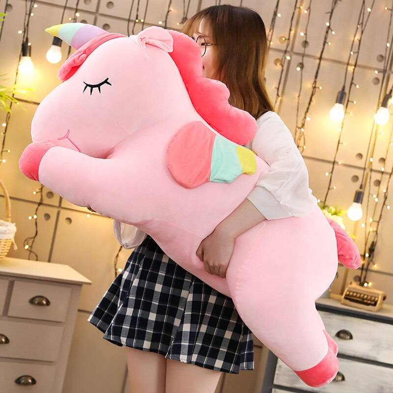 Giant Unicorn Plush Toys Soft Cute Stuffed Animal Sleeping Pillow Horse Doll Valentines Day Gifts For Kids Girls