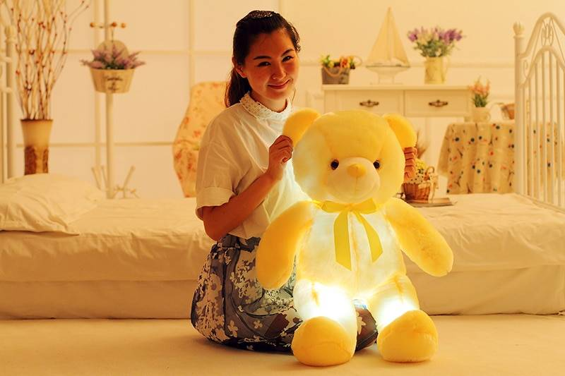 LED Teddy Bear Stuffed Animals Plush Toy Colorful Glowing Christmas Gift for Kids Pillow