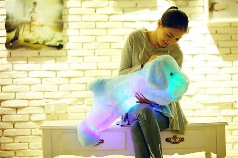 Luminous Dog Plush Doll Colorful LED Glowing Dogs Children Toys For Girl Kids Birthday Gift