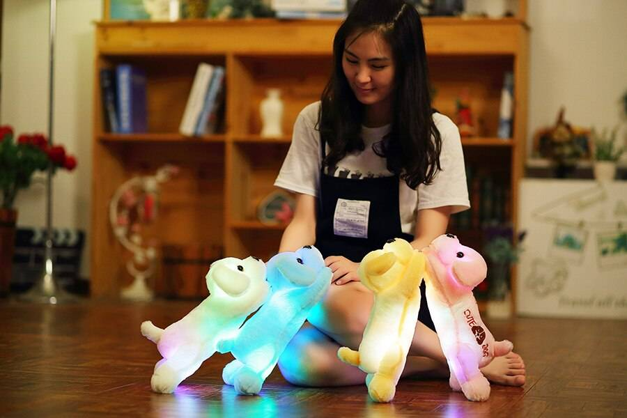 Luminous Dog Plush Doll Colorful Led Glowing Dogs With Embroidery Children Toys For Girl Kid Birthday Gift
