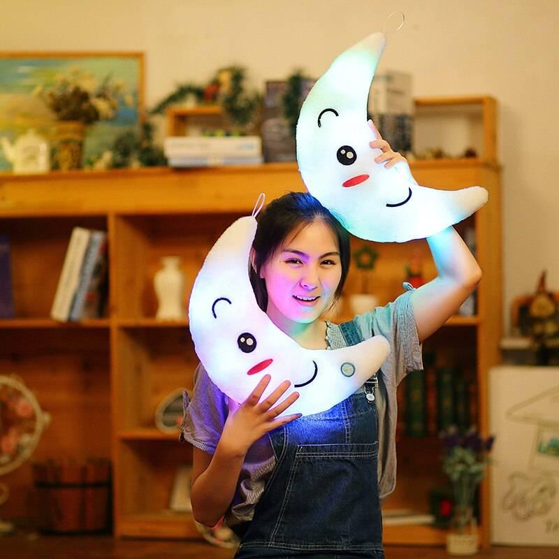Moon Pillow Plush Toys Cute Luminous Toy Led Light Glow In Dark Doll for Children Kids