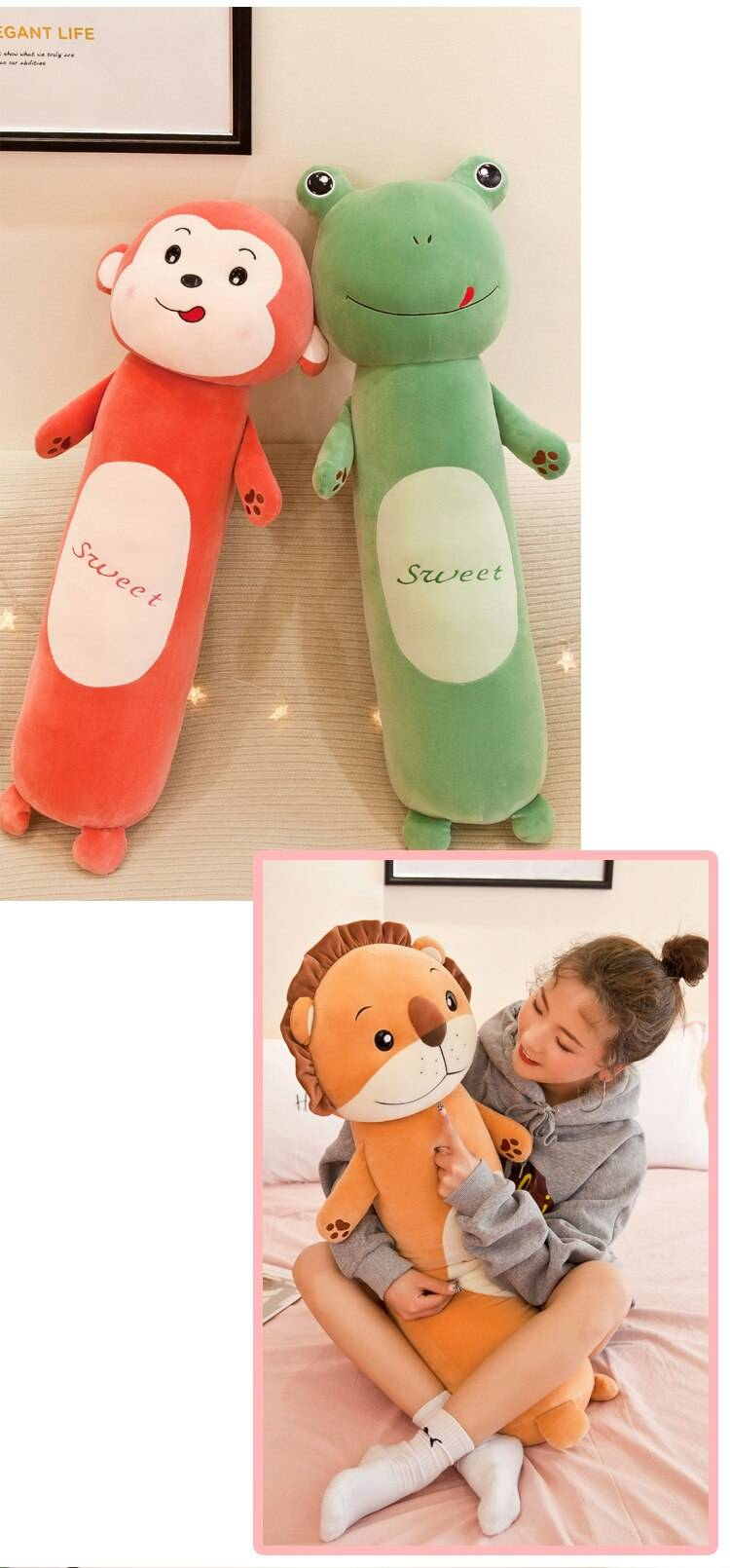 Plush Toys Animal Forest Lion Creative Long Soft Office Lunch Break Nap Sleeping Pillow Cushion Stuffed Gift Doll for Kids