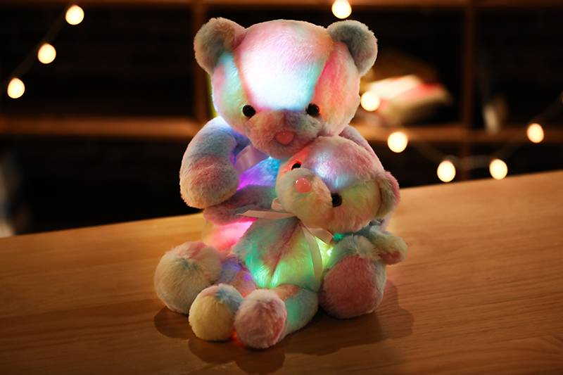 Rainbow Creative Light Up LED Teddy Bear Stuffed Animals Plush Toy Colorful Glowing Christmas Gift for Kids Pillow