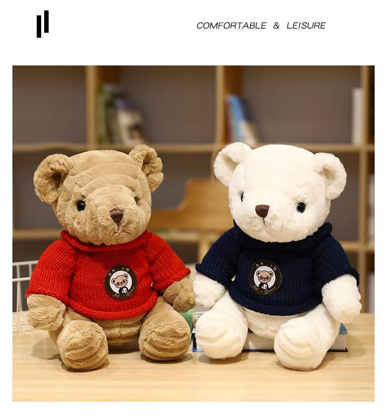 Teddy Bear Plush Toys Stuffed Animal Pillow Soft Doll Scarf Sweater Bear Plushie Birthday Valentines Day Gifts For Kids
