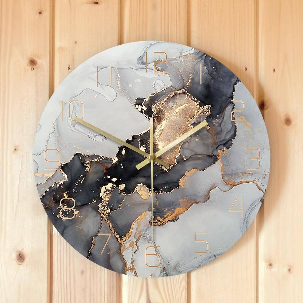 Abstract Ink Printed Wall Clock Modern Art Marble Texture Silent Quartz Clock Watercolor Painting Home Decor Wall Watch
