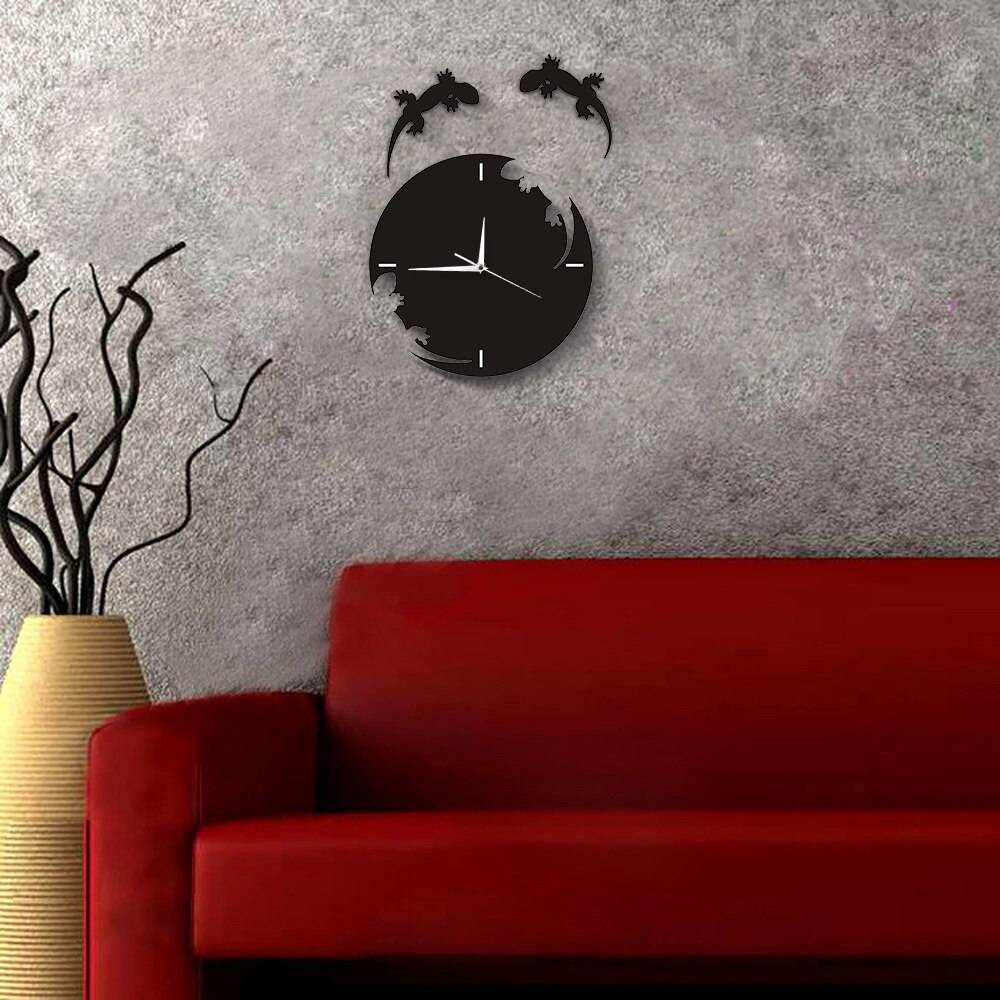 Abstract Wall Art Geckos Escape From The Clock Gecko Wall Clock Salamander Gecko Lizard Silhouette Reptile Designed Wall Clock