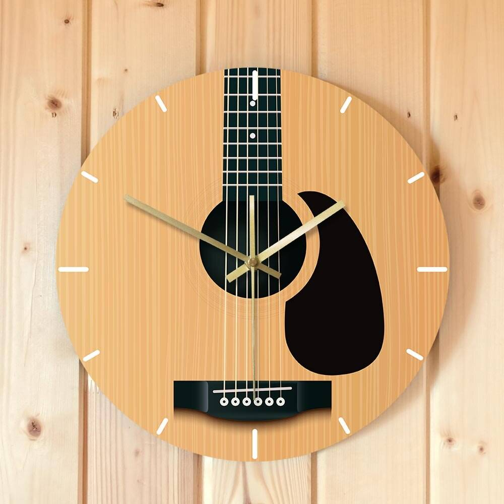 Acoustic Guitar Decorative Wall Clock Music Instrument Minimalist Home Decor Silent Wall Watch Musician Studio Guitarist Gift