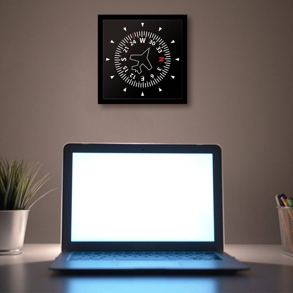 Aircraft Instrument Flight Control Panel Clever Clock Frame Aviation Compass Direction Modern Design Art Timepiece Table Clock