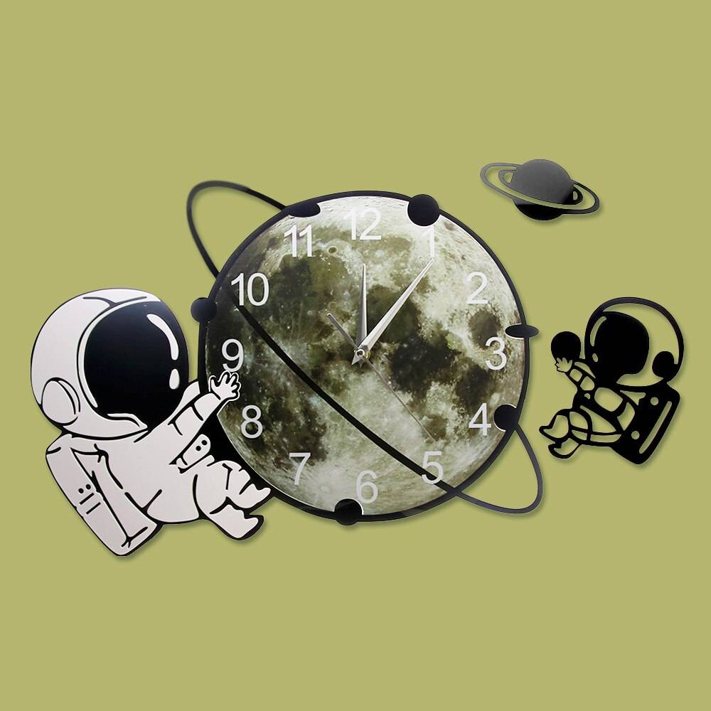 Astronaut On The Moon Cartoon Spaceman Wall Clock Silent Non Ticking Outer Space Wall Art Cosmonaut Kids Room Decorative Clock