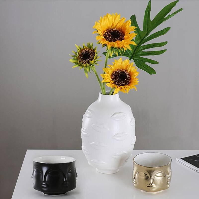 Ceramic Vase Home Decor Flower Pot Body Art Vase Room Decoration European Decoration Sculpture Hydroponic Plant Container