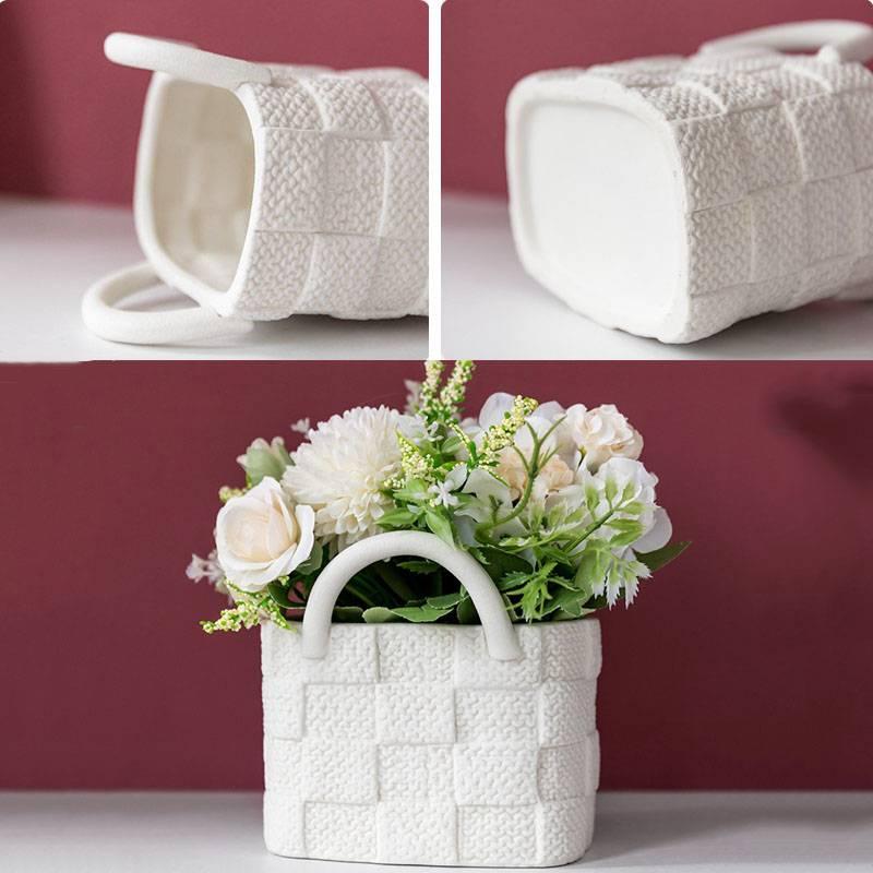 Ceramic Vase Home Decor Vases Nordic Home Decoration Flower Pot Handbag Wide Mouth Living Room Flower Arrangement Simple Style