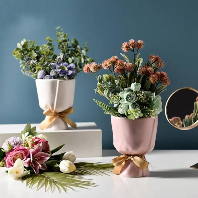 Ceramics Vase Home Decor Flower Pot Room Decor Flower Vase Modern European Style Bouquet Modeling Garden Decoration Ornaments