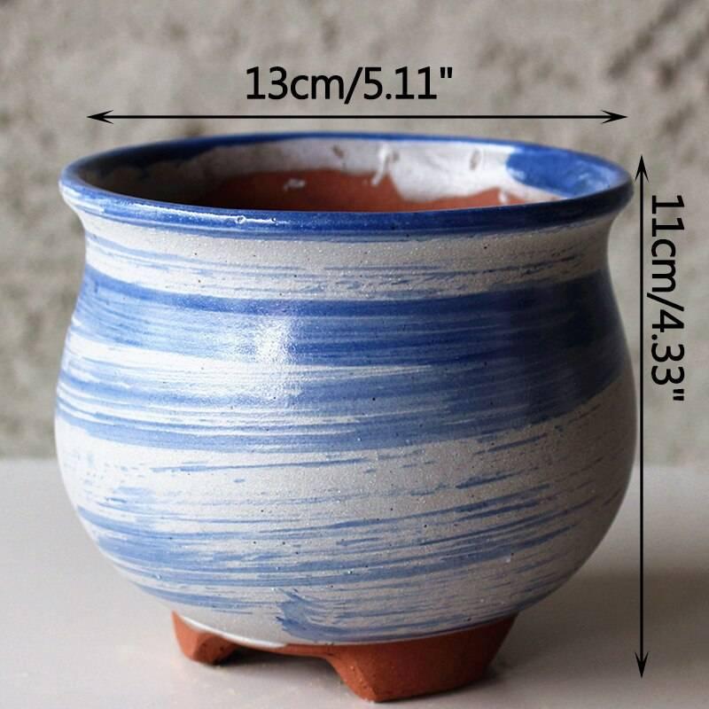 Home Garden Vintage Succulent Ceramic Flower Pot Stoneware Purple Sand Succulent Flower Pot Spray Glaze Balcony Planting Pots