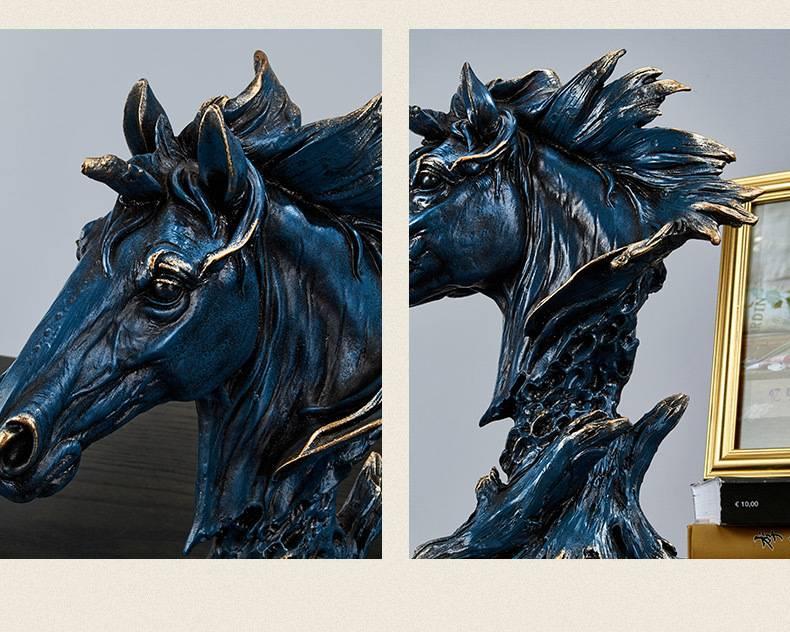 Horse Head Statue Home Decor Resin Figurine Creative Animal Horse Art Sculpture Decoration Resin Nordic Home Decoration