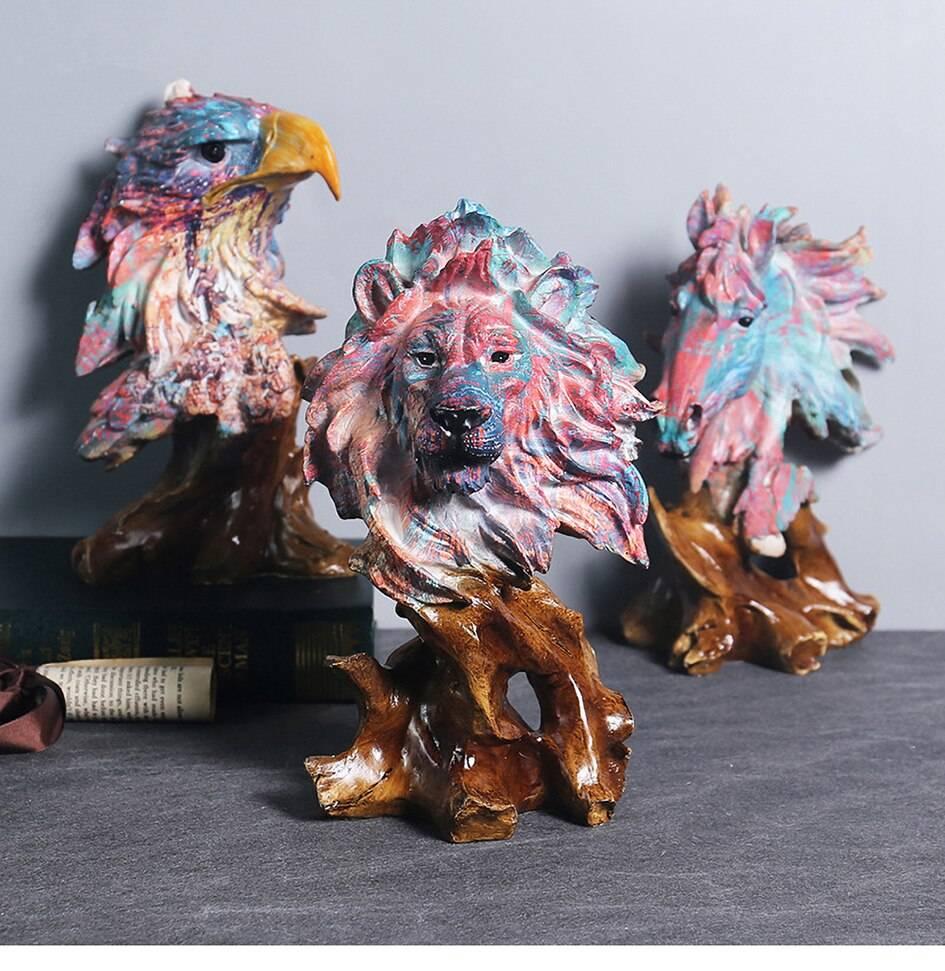 Lion Statue Eagle Sculpture Horse Wolf Figurines Home Table Decoration Accessories