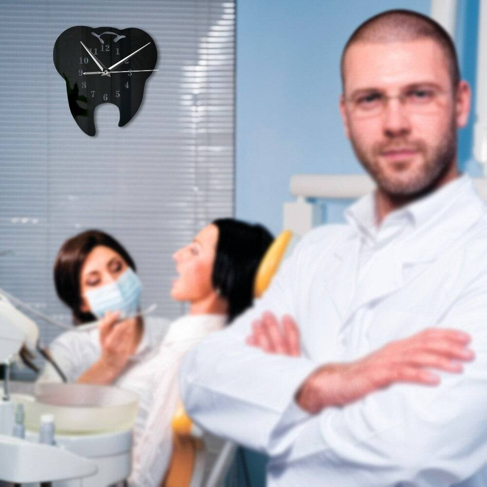 Mirror Effect Tooth Dentistry Wall Clock Laser Cut Decorative Dental Clinic Office Decoration Teeth Care Dental Surgeon Gift
