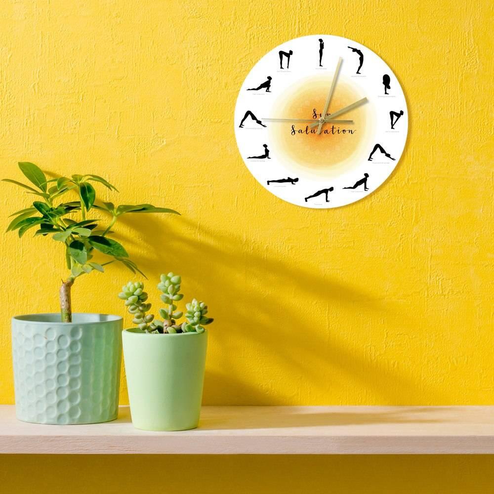 Surya Namaskar Sequence Yoga Pose Silhouette Wall Clock Non ticking Sun Salutation Wall Clock Yoga Studio Decor Gift For Yogis