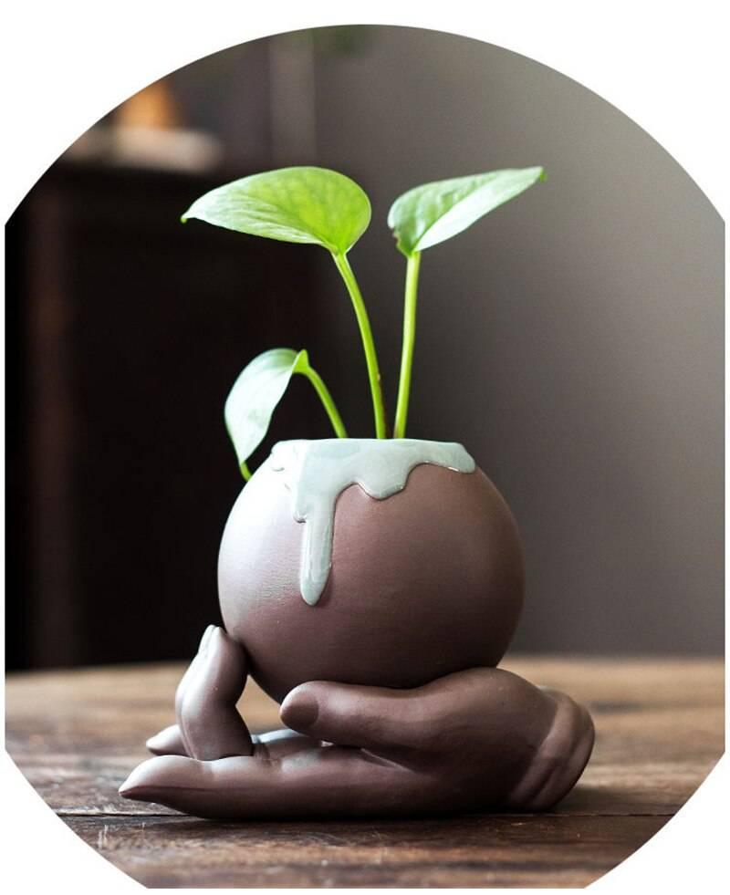 Ceramic Succulent Flowerpot Desktop Handicrafts Decoration Ornaments Creative Hydroponic Flowerpot Vase Home Garden