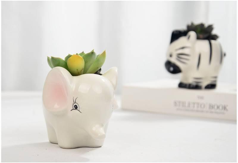 Creative Cute Animal Ceramic Succulent Flower Pot Miniature Model Potted Planter Office Decoration Gift Fairy Garden Decoration