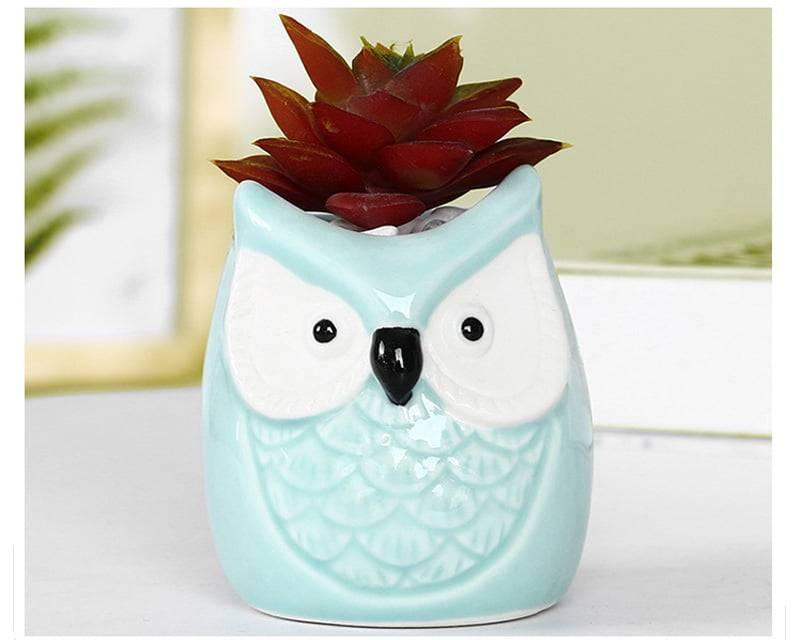 Creative Mini Animal Ceramic Flower Pot Home Decoration Accessories Owl Miniature Fairy Garden Decoration Succulent Flower Pots