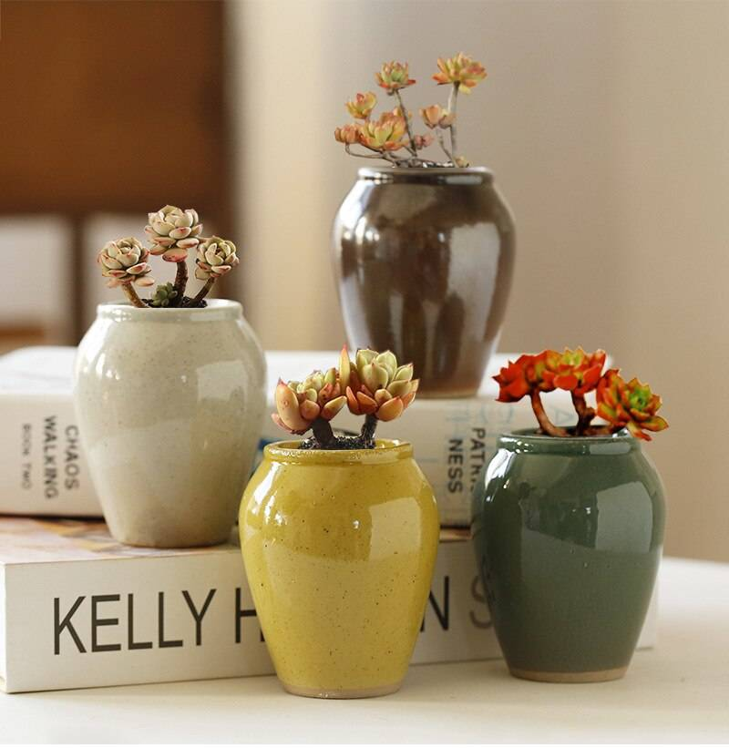 Home Garden Decoration Simple Bright Glaze Ceramic Mini Succulent Flower Pot Hand Painted Container Balcony Green Planting
