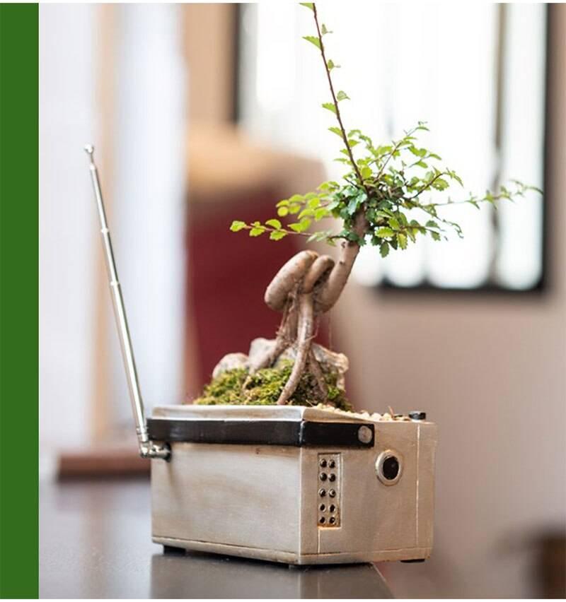 New Retro Tape Recorder Succulent Flower Pot Home Creative Storage Box Ornaments Resin Crafts Home Balcony Garden Decoration