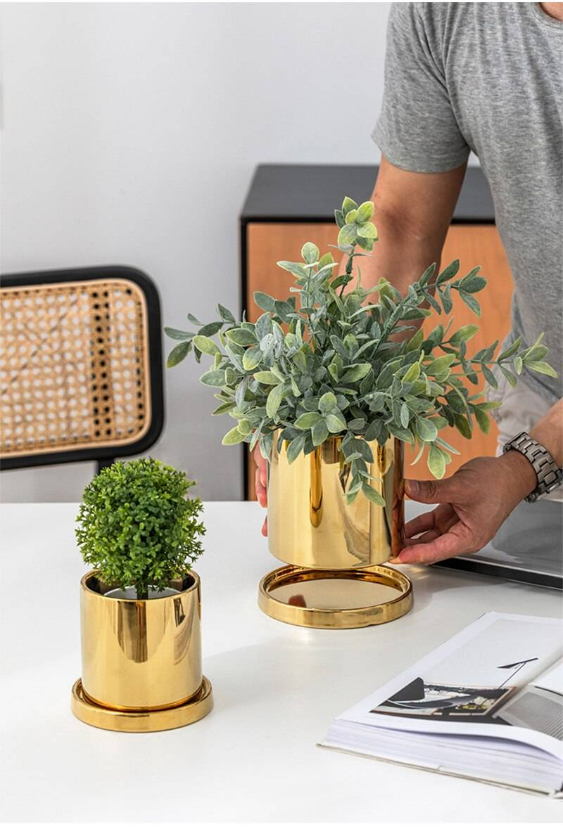 Nordic Ins Gold Electroplating Ceramic Flower Pot Light Luxury Ornaments Green Plants Succulent Potted Home Garden Decoration
